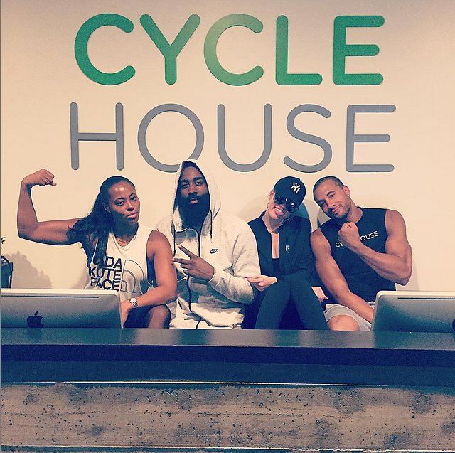 Khloé Kardashian kicked it behind the desk at Cycle House in LA.