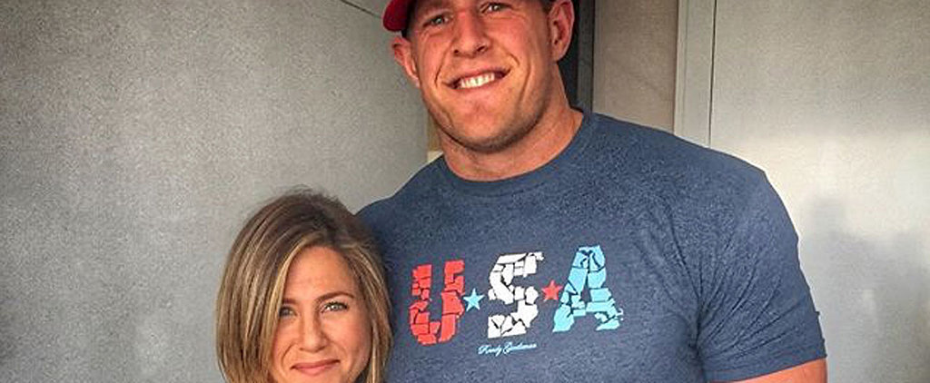 """J.J. Watt Adorably Admits That He """"Probably Blacked Out"""" From Excitement When Meeting Jennifer Aniston"""
