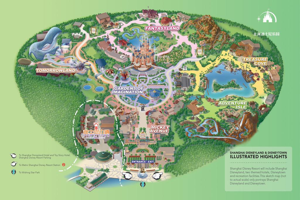 地圖上海迪士尼樂園和Disneytown的