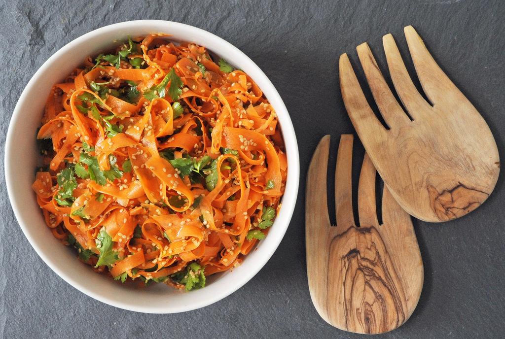 Spicy Sesame Carrot Ribbon Salad