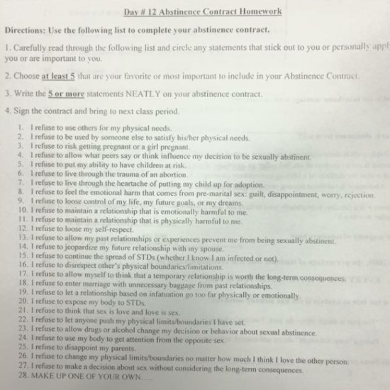 High School Gives Out Abstinence-Only Contracts