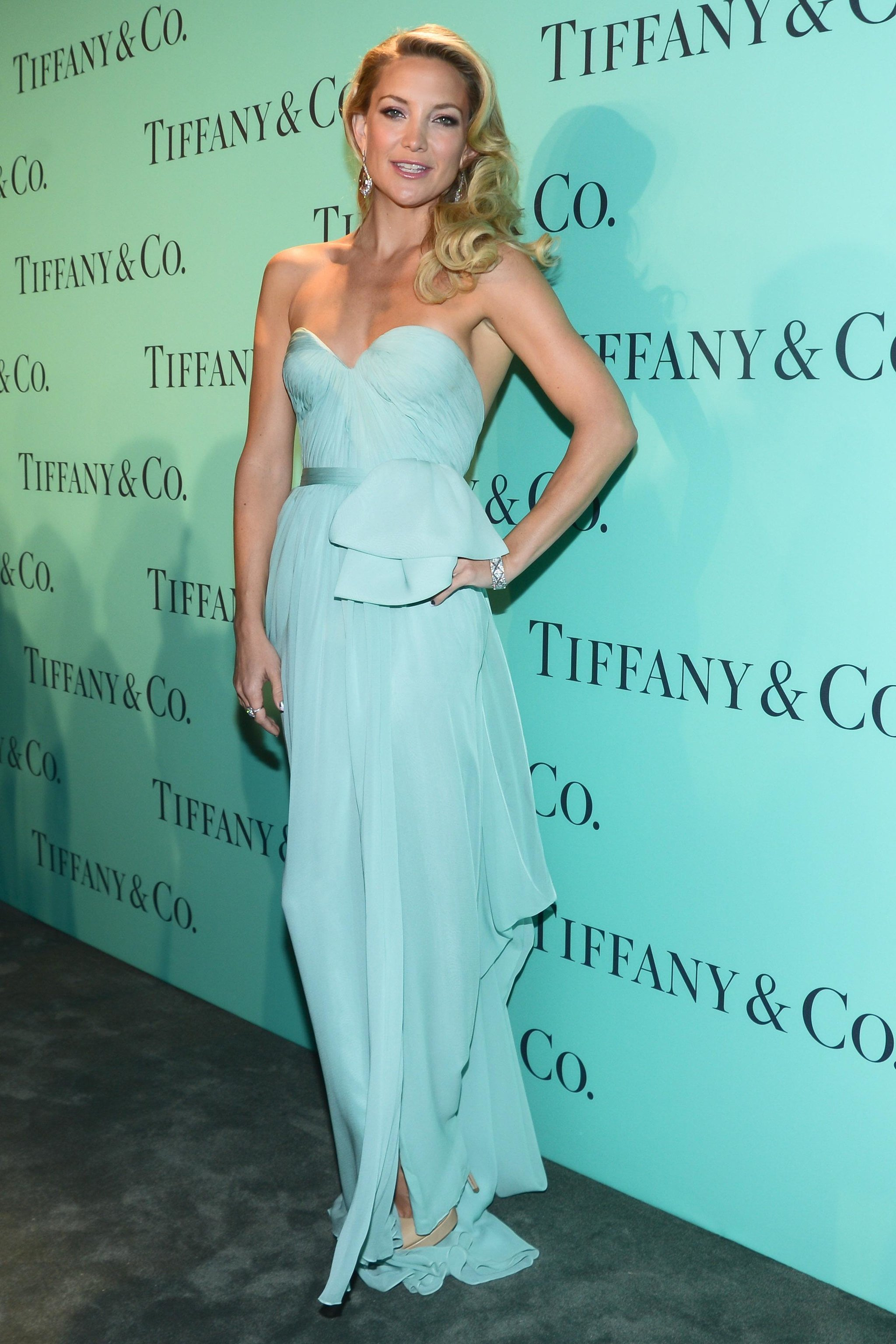 She Was True Tiffany & Co. Blue in a Strapless Reem Acra Gown