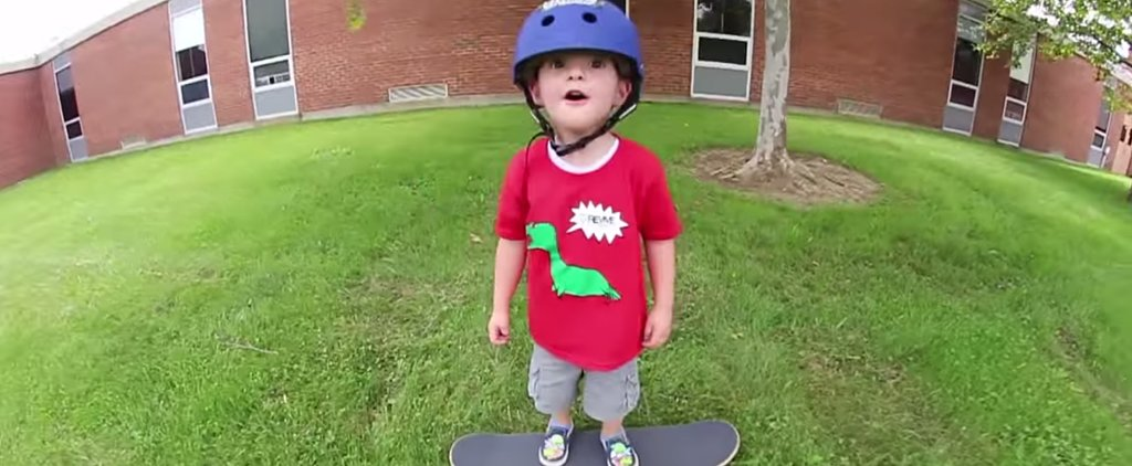 This Sweet 3-Year-Old Boy Lands His First Solo Skateboarding Trick and Is So Proud of Himself