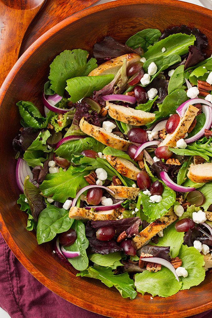 Grilled Chicken Salad With Goat Cheese, Grapes, and Honey-Balsamic Dressing