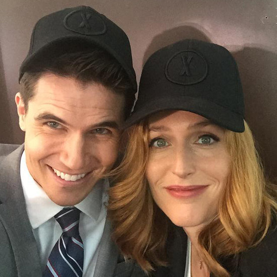 Robbie Amell and Gillian Anderson on The X-Files Set