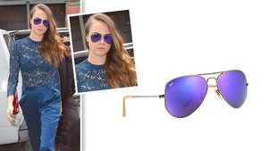 Trade In Your Boring Ol' Sunglasses For Cara Delevingne's Violet Ray-Ban Aviators