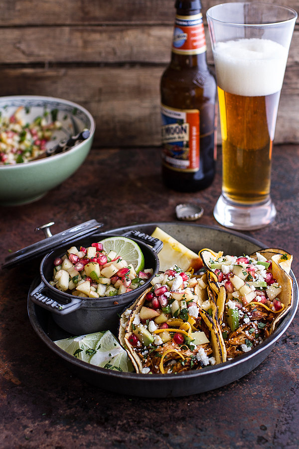 Spicy Beer-Braised Chicken Enchilada Tacos With Sweet Chili Apple ...