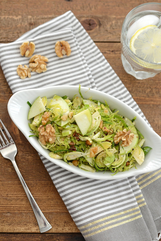 Shaved Brussels Sprout Salad With Walnuts and Apples