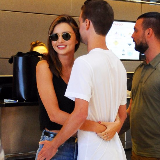 Miranda Kerr and Evan Spiegel PDA at LAX