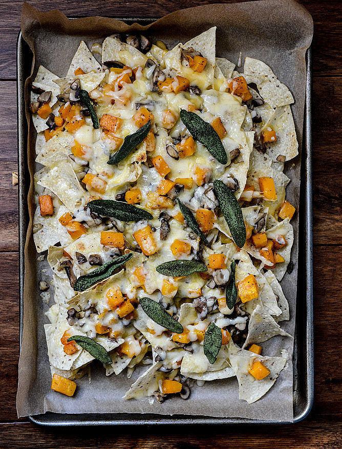 Butternut Squash, Mushroom, and Fontina Nachos