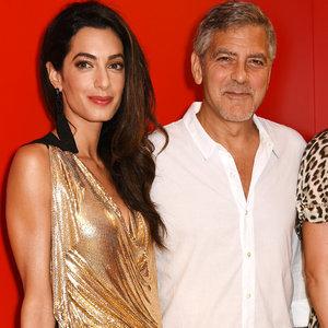 Amal Clooney Wearing a Gold Mini Dress