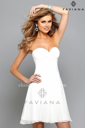 Strapless Sweetheart Faviana 7650 White Homeconing Dresses [Faviana 7650] - $150.00 : Short dresses | Homecoming Dresses | Short