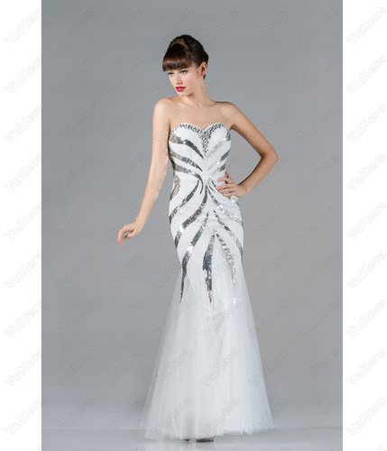 White Strapless Sequin Mermaid Prom Dress - Vuhera.com