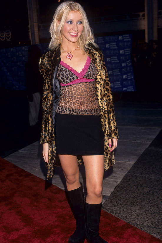 Christina Aguilera wore this fancy leopard outfit.