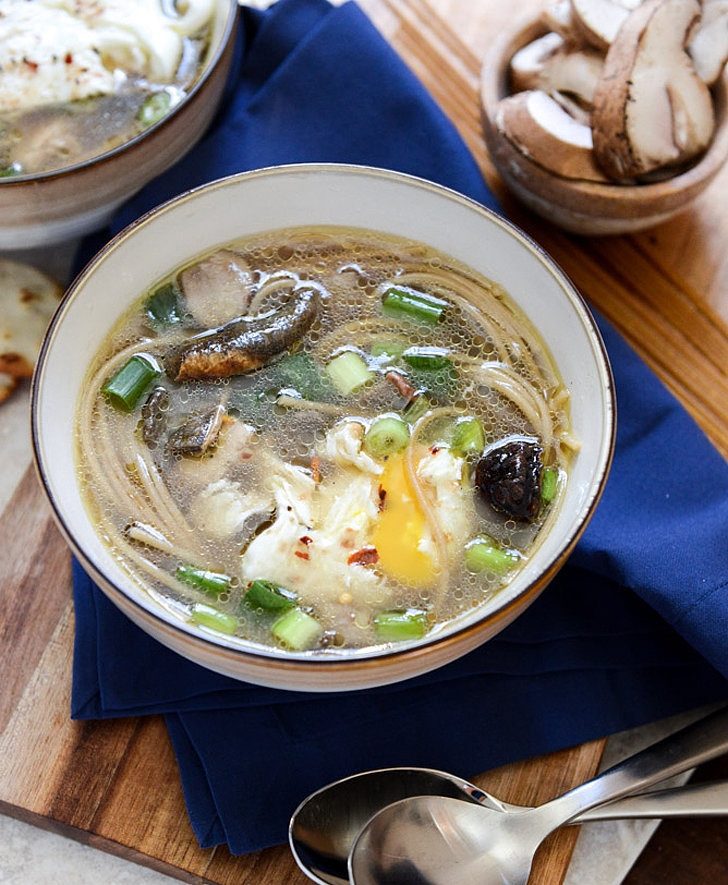 Mushroom and Chicken Soba Noodle Soup With Poached Egg