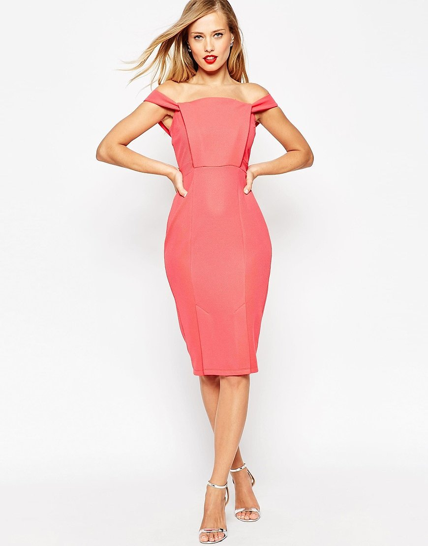 ASOS Pencil Dress In Texture With Off Shoulder Tab Detail 76