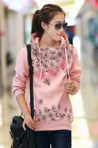 Long Sleeve Regular Pink Cotton Pullover - Vuhera.com