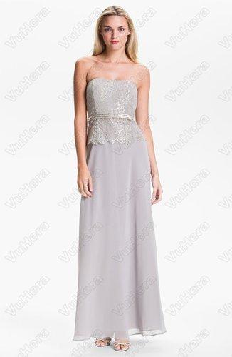 Strapless Metallic Lace & Chiffon Evening Dress - Vuhera.com