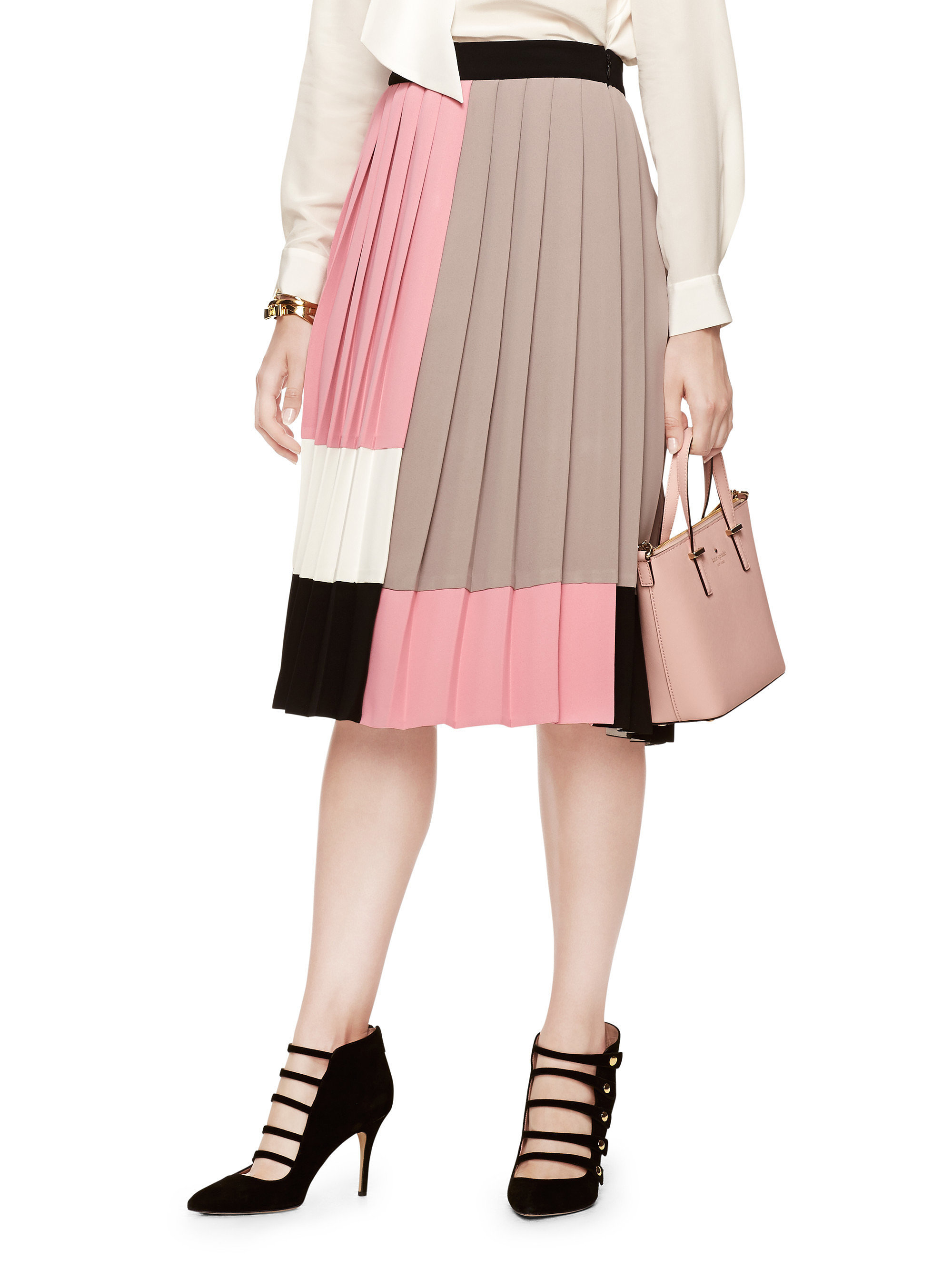 Kate Spade Colorblock pleated skirt ($328) | Michelle ...
