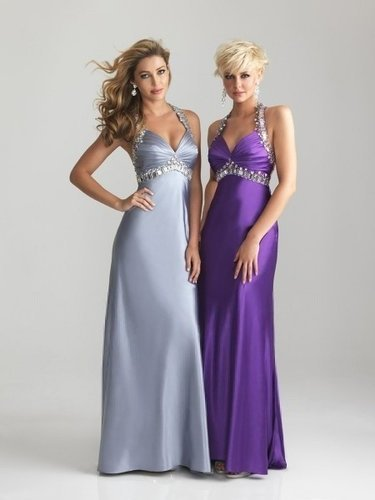 Satin Halter Long Beading Ruching Prom Dress - Vuhera.com