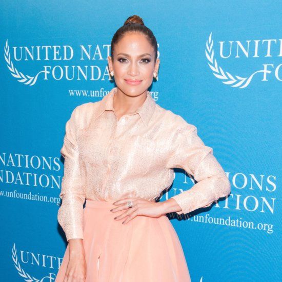 Jennifer Lopez Wearing Pink Skirt and Top