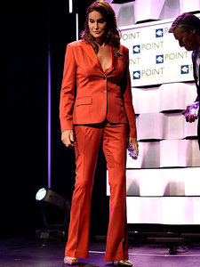 Lady in Red: Caitlyn Jenner Gets Seriously Sexy in Low-Cut Pantsuit at LGBT Event