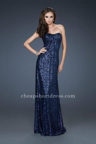 Banded Strap Back La Femme 17924 Navy Sequin Long Prom Dresseses