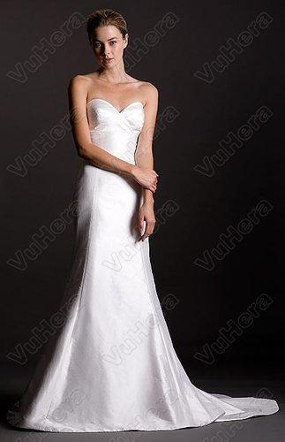 Shantung Strapless Pleated Sweetheart Wedding Dress - Vuhera.com