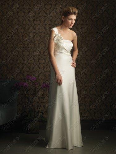 Satin One-Shoulder Neckline Ruched Bodice Column Wedding Dress - Vuhera.com