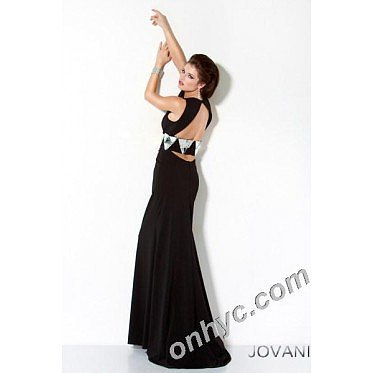 Sheath Square Mirror Jeweled Elastic Satin Long Black Party Dress