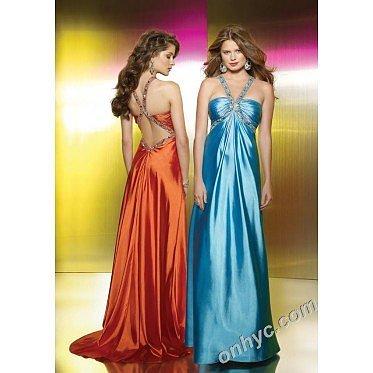 Sheath Halter Top Silk-Like Satin Beading Light Blue Long Prom Dress