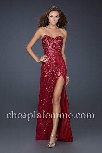 Sexy Side Front Slit Fuchsia Sequin Long Prom Dress by La Femme 17526