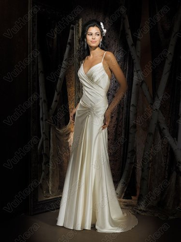 Organdy V-Neckline Asymmetrical Side Draped Bodice Column Wedding Dress - Vuhera.com