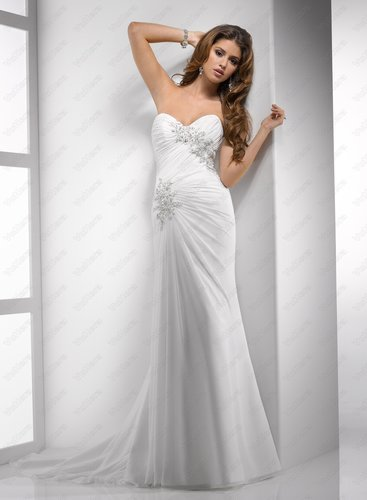 Ruched Paris Chiffon Sweetheart Neckline Sheath Wedding Dress - Vuhera.com