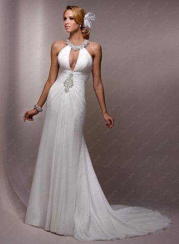 Paris Chiffon Jewel Neckline Sheath Wedding Dress - Vuhera.com
