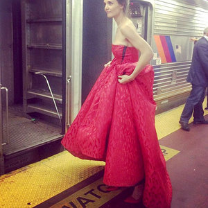 Katie Holmes (Literally) Travels In Style: Actress Wears Ballgown to N.Y.C.'s Penn Station