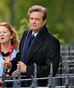 Colin Firth on the set of Bridget Jones's Baby as Mark Darcy