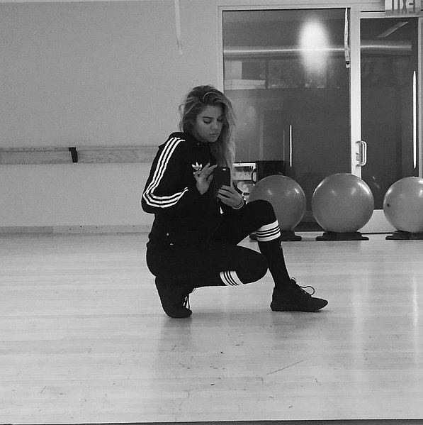 Khloé Kardashian squeezed in a workout and this sweet shot.