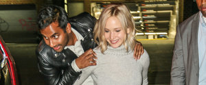 Jennifer Lawrence Flashes Her Abs of Steel While Giving Aziz Ansari a Piggyback Ride