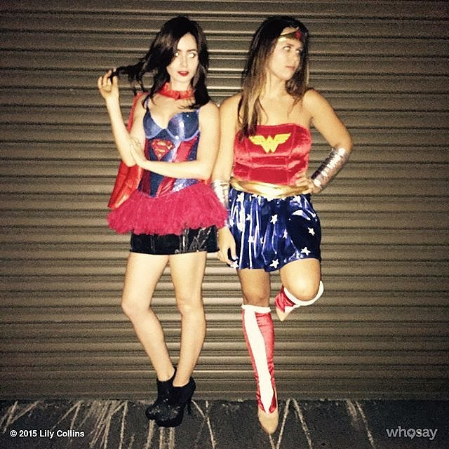 Lily Collins as Supergirl and Her Friend as Wonder Woman