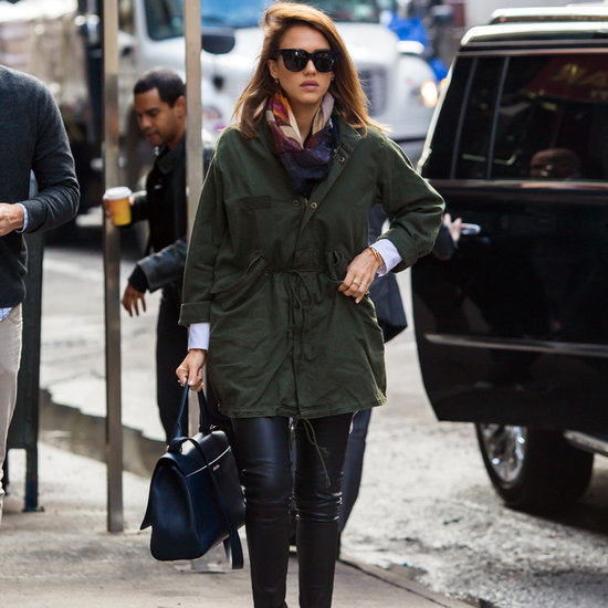 Jessica Alba Adds Pop of Color to Outfit October 2015