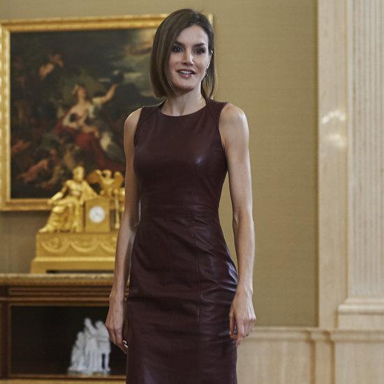 Queen Letizia Wearing Leather Dress