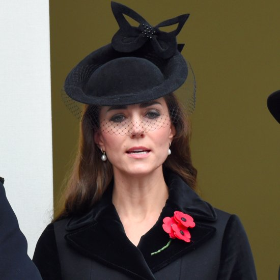 Kate Middleton Wearing Black Velvet Coat and Fascinator