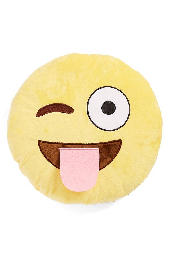 For 9-Year-Olds: Top Trenz Wink Tongue Emoji Pillow