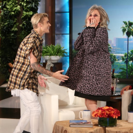 Diane Keaton Meets Justin Bieber on Ellen November 2015