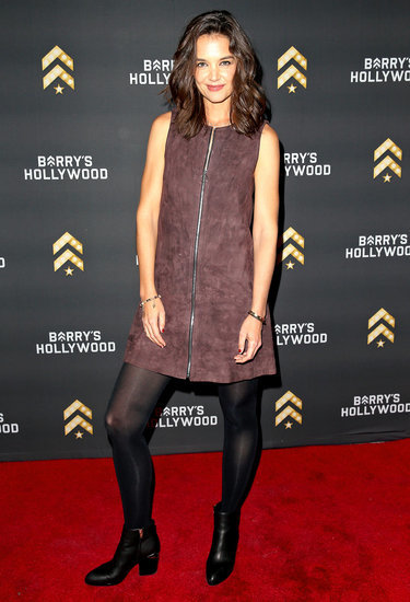 Katie Holmes Embraces Fall in Suede Dress, Tights, Booties: See Her Perfect Autumn Fashion