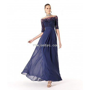 Perfect A Line Tank Top Floor Length Chiffon Dark Navy Mother Of The Bride Dress