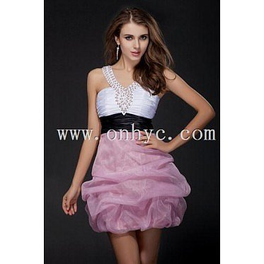 Princess Belt Beading V neck  Organza A line Cocktail Dress
