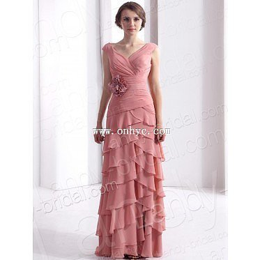 Modern Sheath Column V Neck Floor Length Chiffon Pink Mother Of The Bride Dress