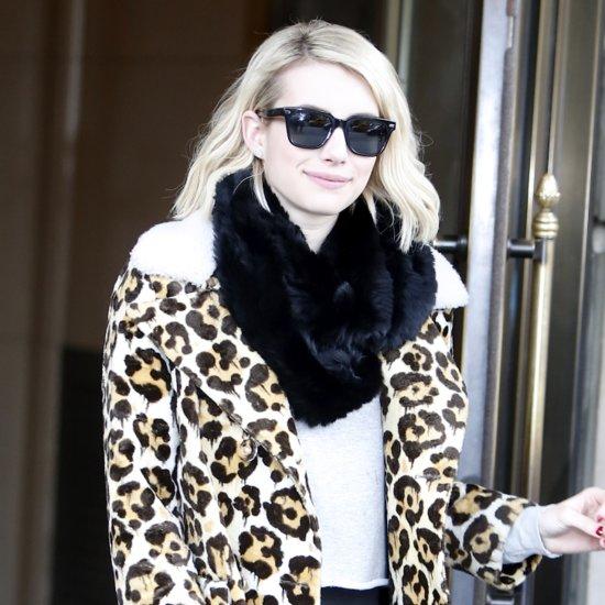 Emma Roberts Wearing a Leopard Coat